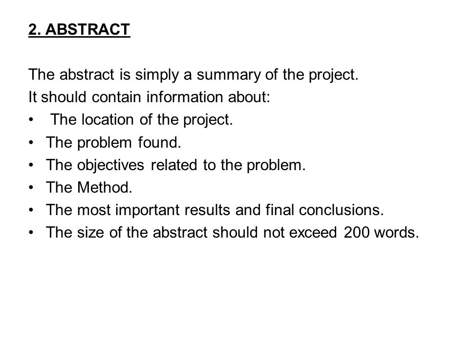 what is abstract for project