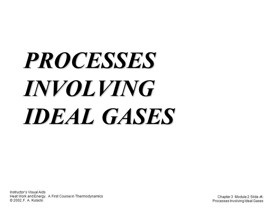 PROCESSES INVOLVING IDEAL GASES