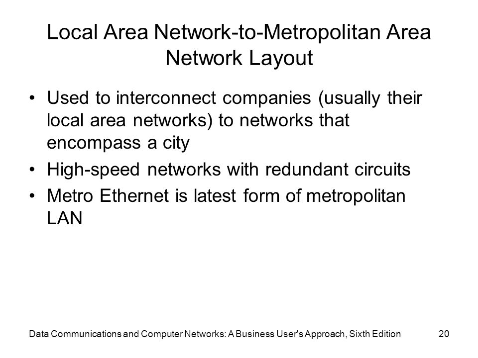 Local Area Network-to-Metropolitan Area Network Layout