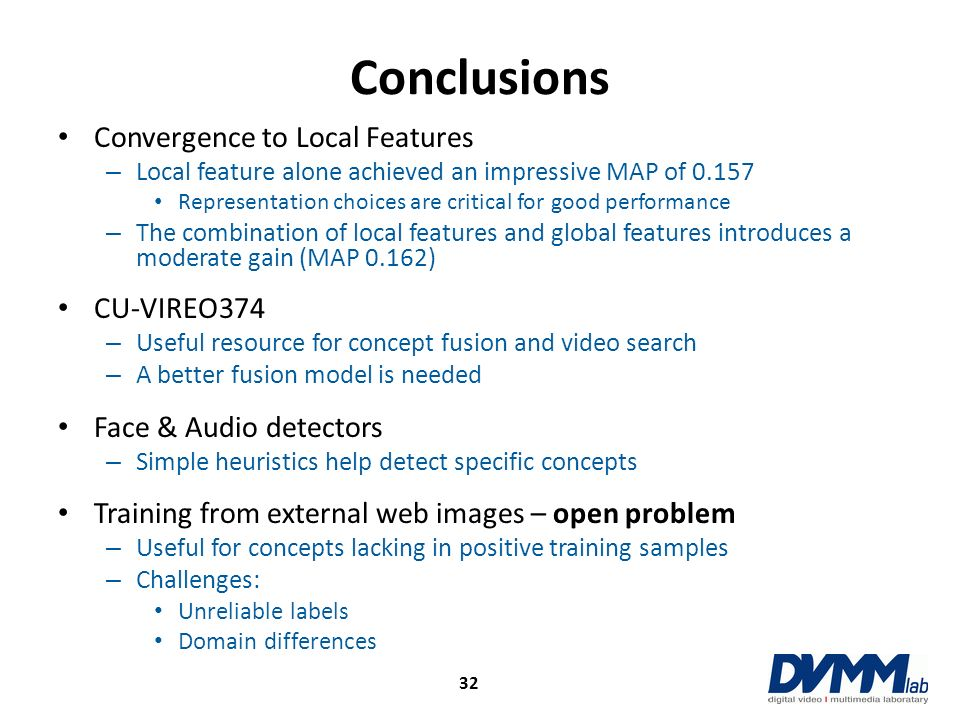 Conclusions Convergence to Local Features CU-VIREO374