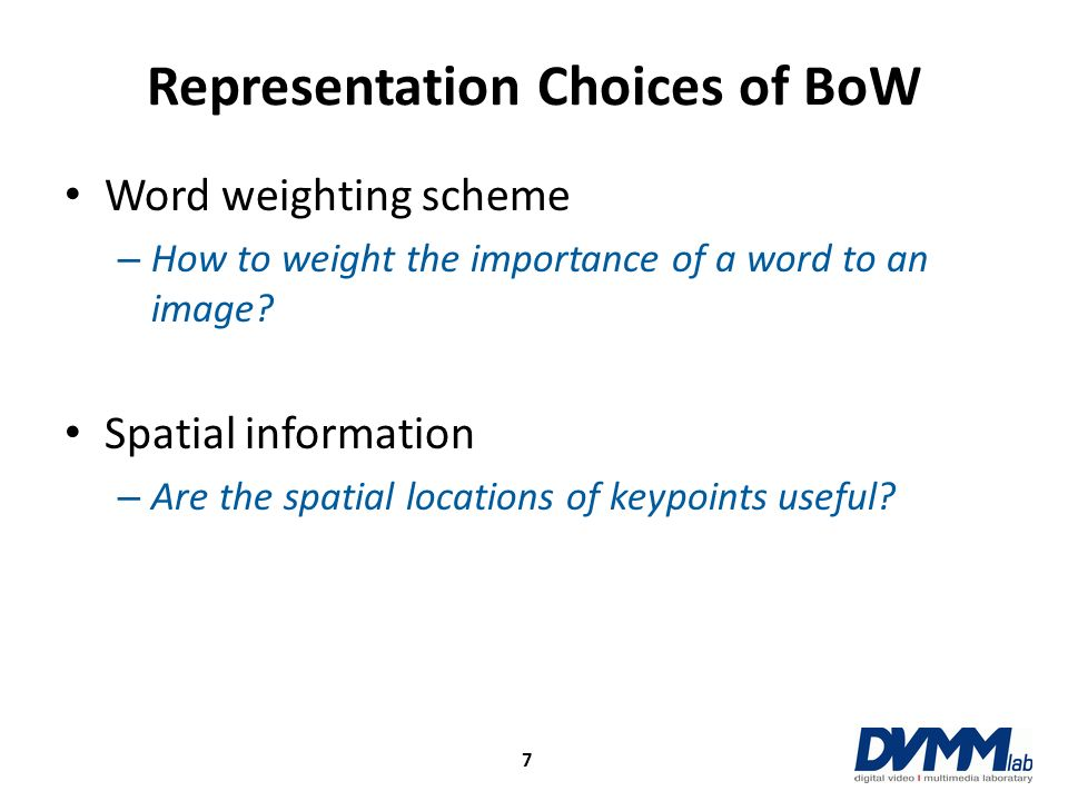 Representation Choices of BoW