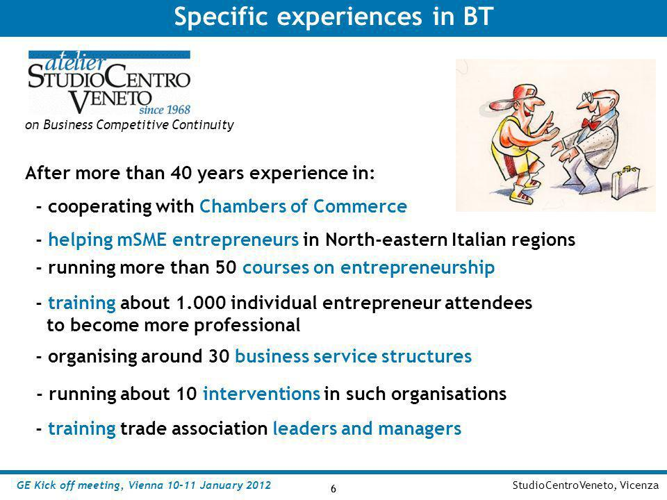 Specific experiences in BT