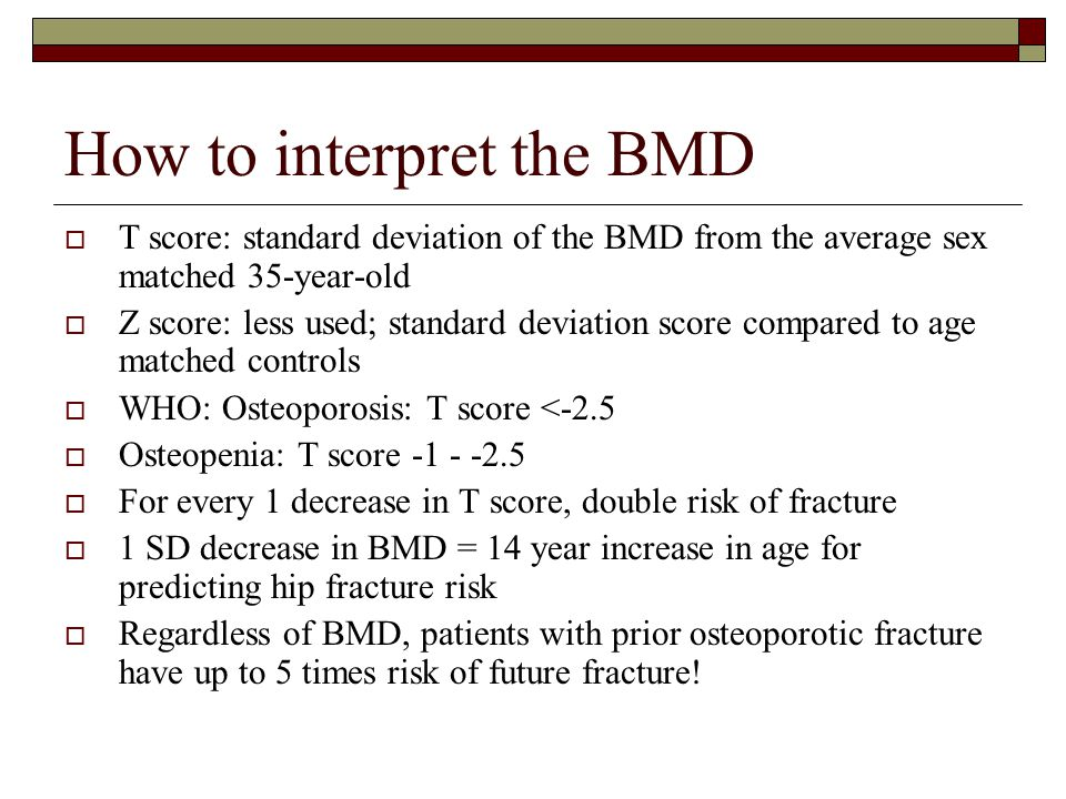 How to interpret the BMD