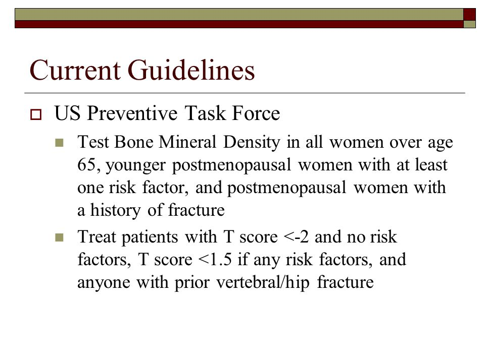 Current Guidelines US Preventive Task Force