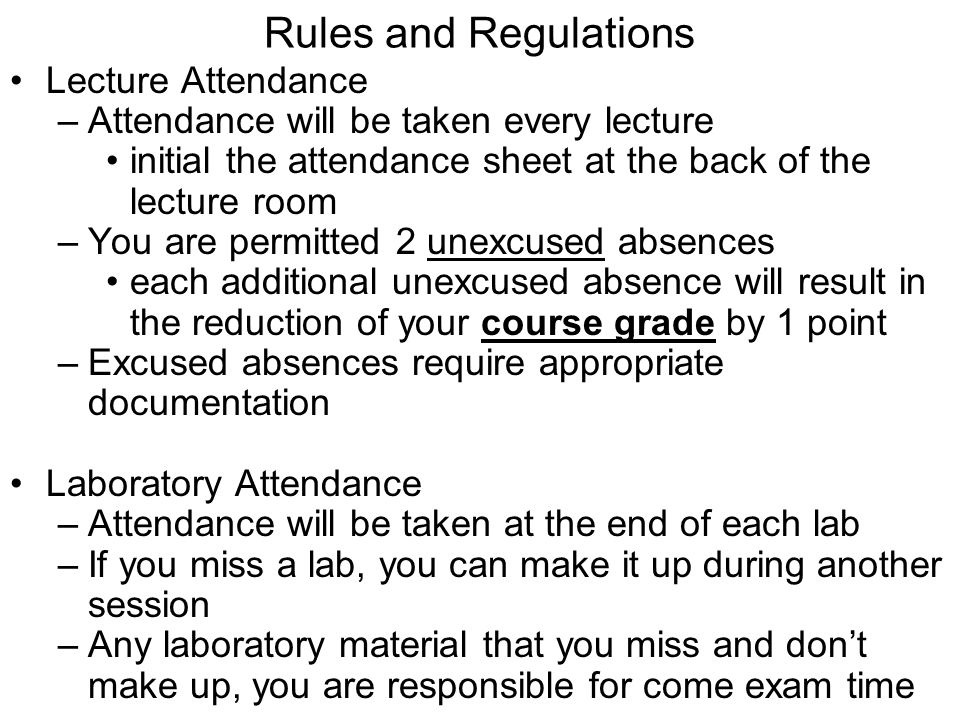 Rules and Regulations Lecture Attendance