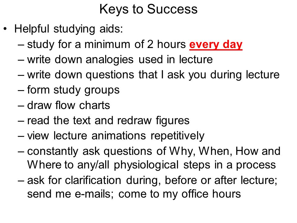 Keys to Success Helpful studying aids:
