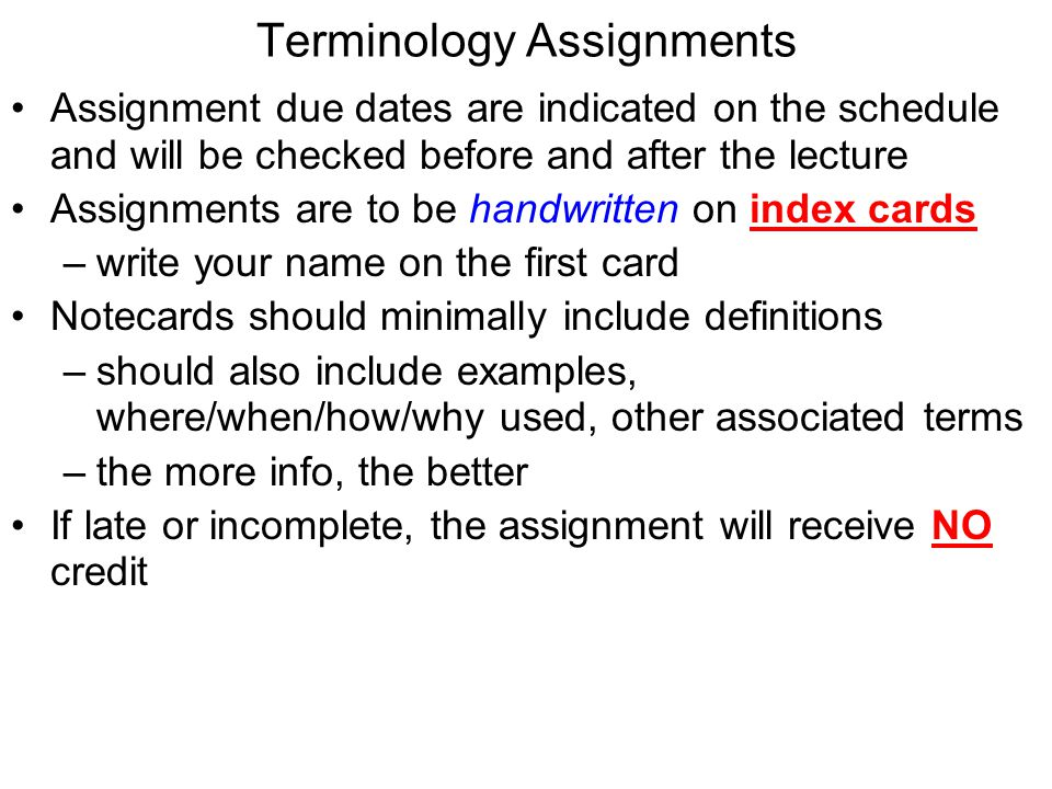 Terminology Assignments