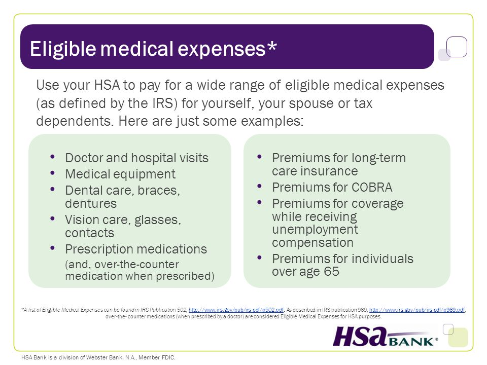 Eligible medical expenses*