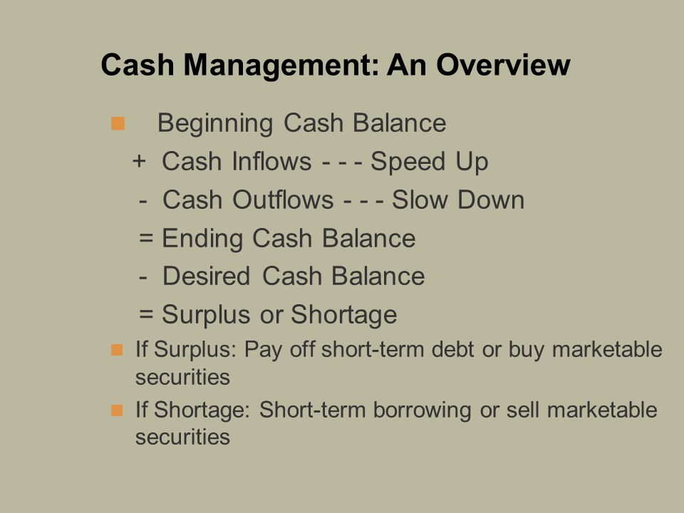 Cash Management: An Overview