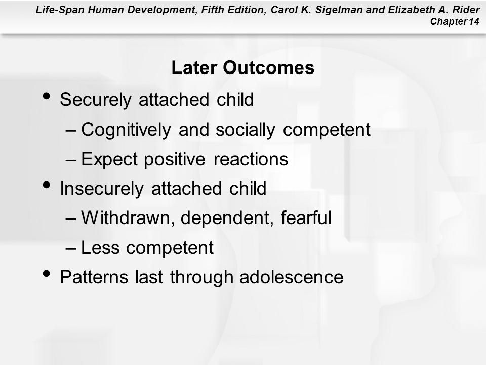 Later Outcomes Securely attached child. Cognitively and socially competent. Expect positive reactions.