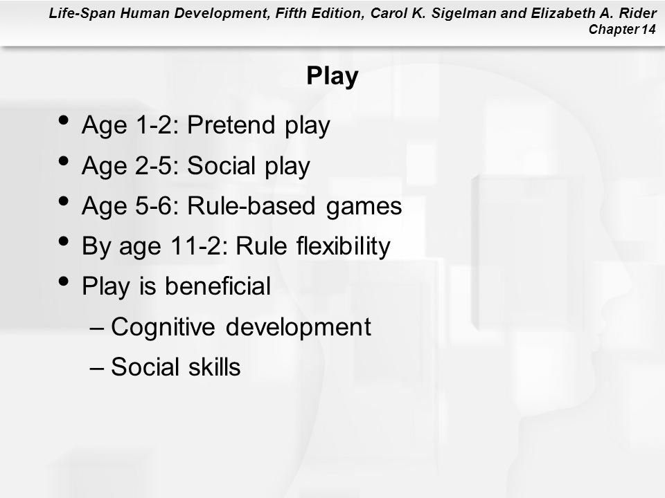 Play Age 1-2: Pretend play. Age 2-5: Social play. Age 5-6: Rule-based games. By age 11-2: Rule flexibility.
