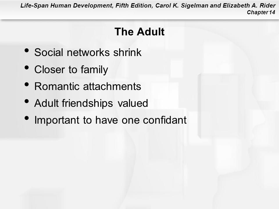 The Adult Social networks shrink. Closer to family. Romantic attachments. Adult friendships valued.
