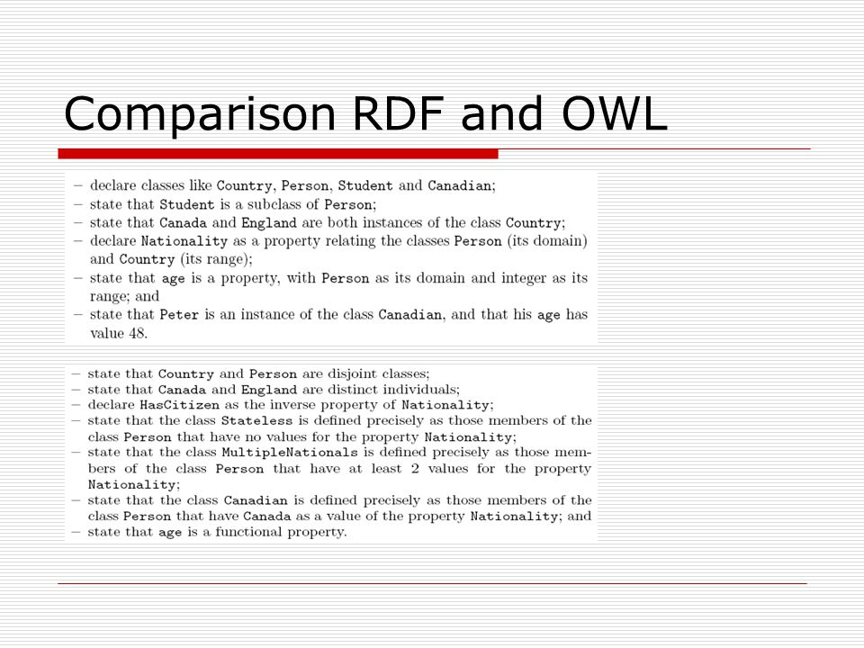 Comparison RDF and OWL