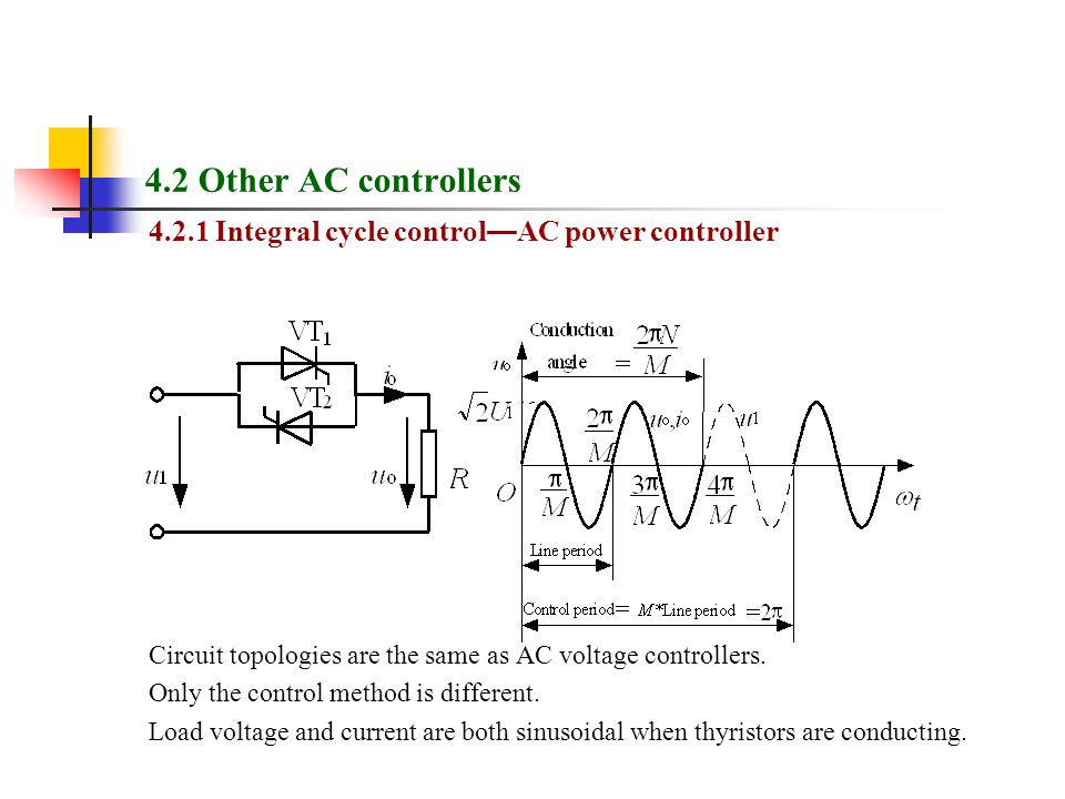 4.2 Other AC controllers Integral cycle control—AC power controller. Circuit topologies are the same as AC voltage controllers.