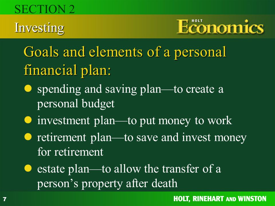 Goals and elements of a personal financial plan: