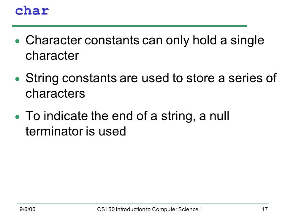 CS150 Introduction to Computer Science 1