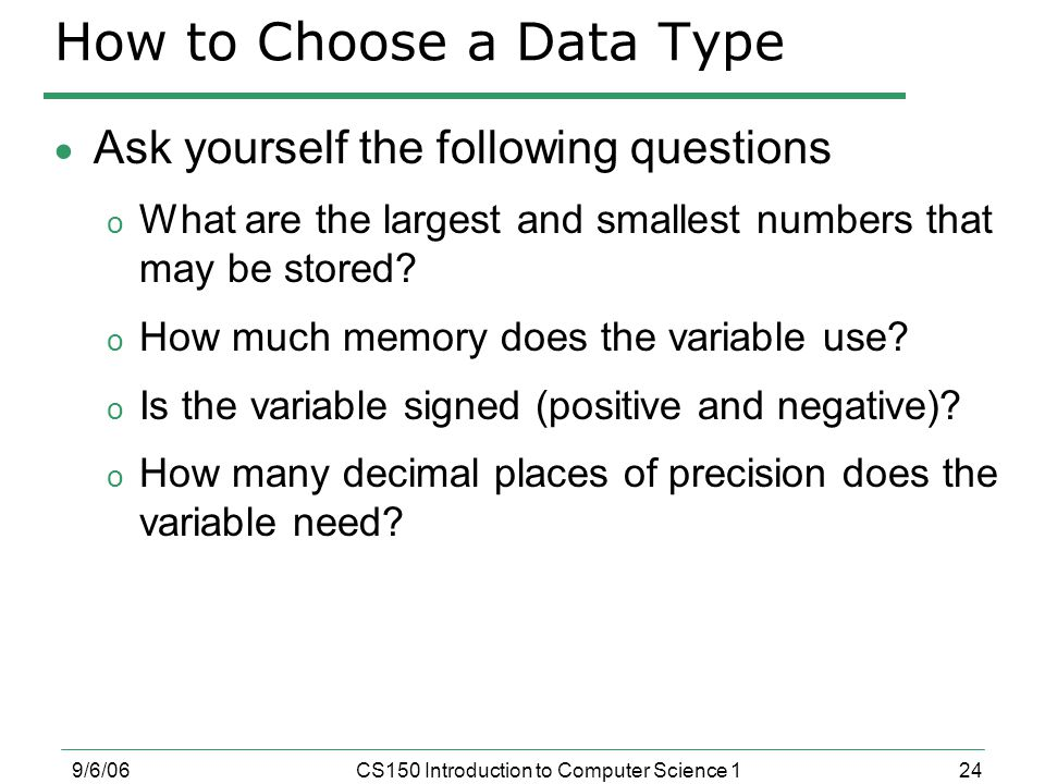 How to Choose a Data Type