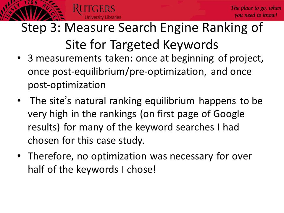 Step 3: Measure Search Engine Ranking of Site for Targeted Keywords