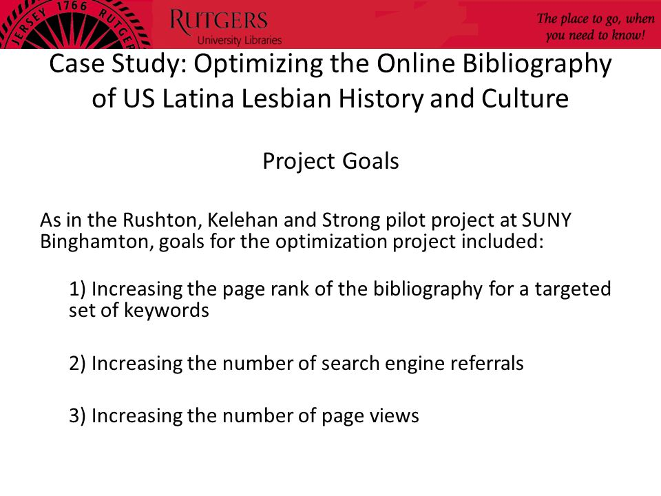 Case Study: Optimizing the Online Bibliography of US Latina Lesbian History and Culture