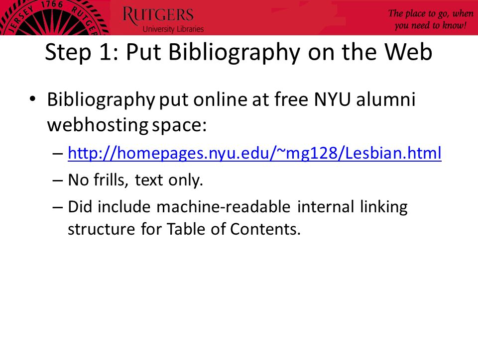 Step 1: Put Bibliography on the Web