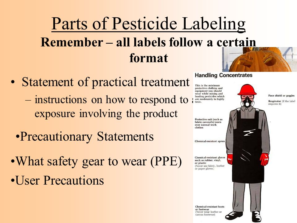 Parts of Pesticide Labeling Remember – all labels follow a certain format