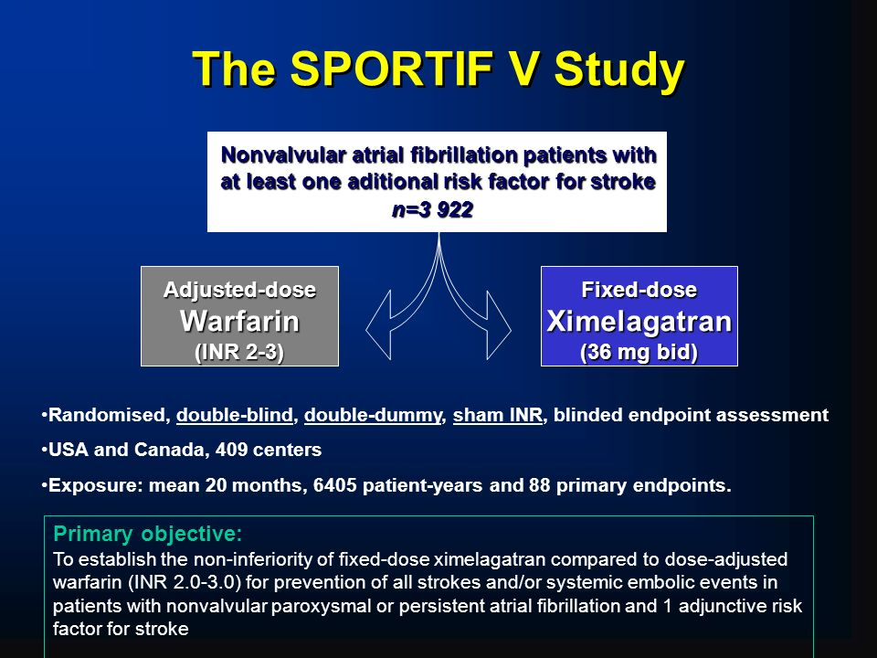 The SPORTIF V Study Warfarin Ximelagatran Adjusted-dose (INR 2-3)