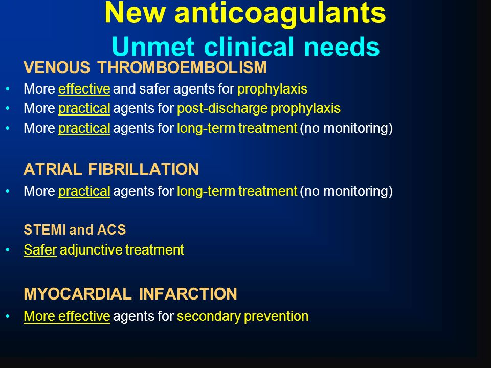 New anticoagulants Unmet clinical needs