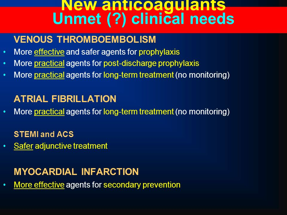 New anticoagulants Unmet ( ) clinical needs