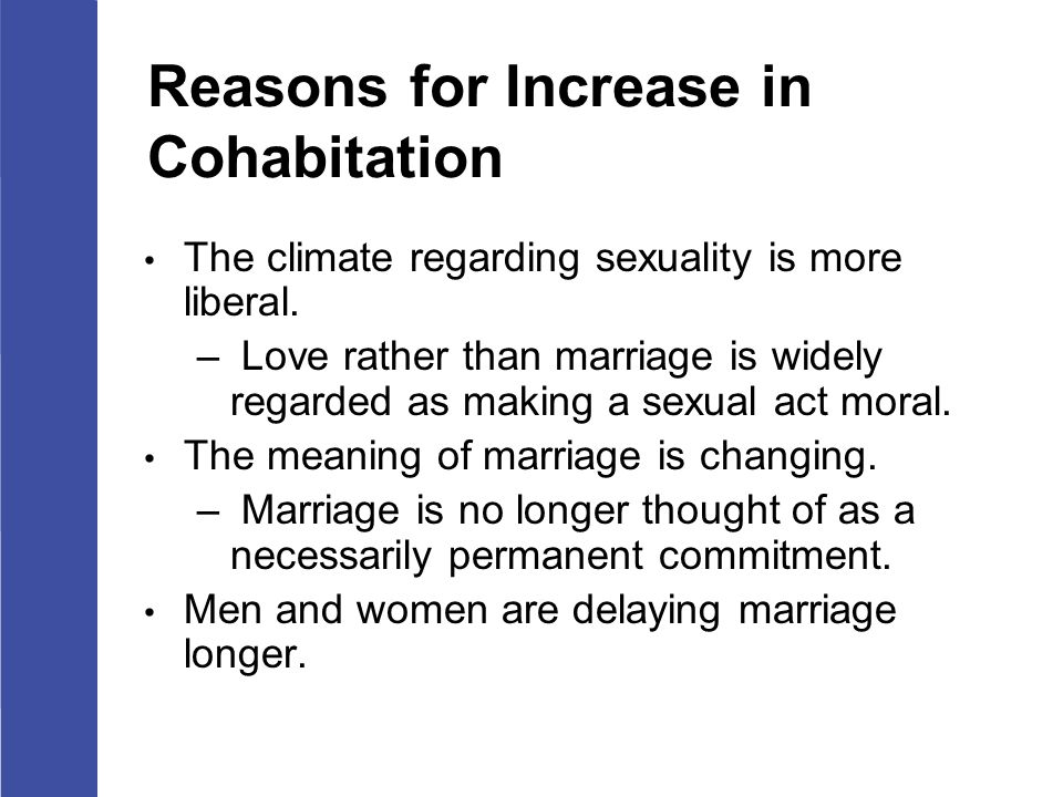 Reasons to cohabitate