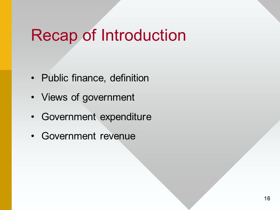 Recap of Introduction Public finance, definition Views of government