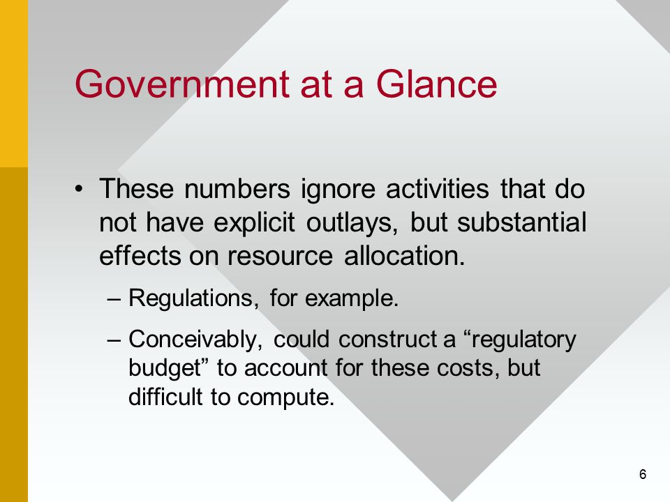 Government at a Glance These numbers ignore activities that do not have explicit outlays, but substantial effects on resource allocation.