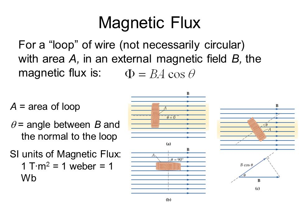 Magnetic Flux For a loop of wire (not necessarily circular) with area A, in an external magnetic field B, the magnetic flux is: