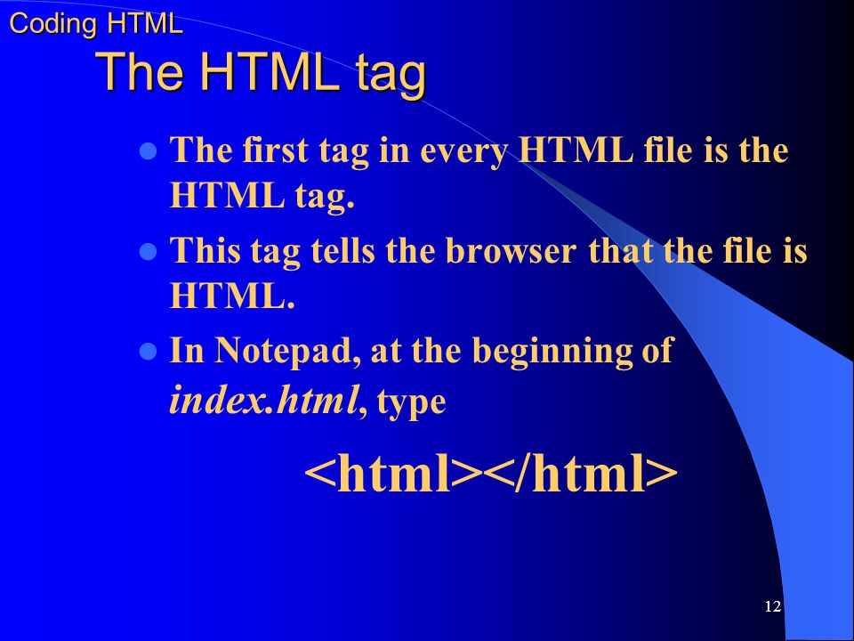 Coding HTML The HTML tag
