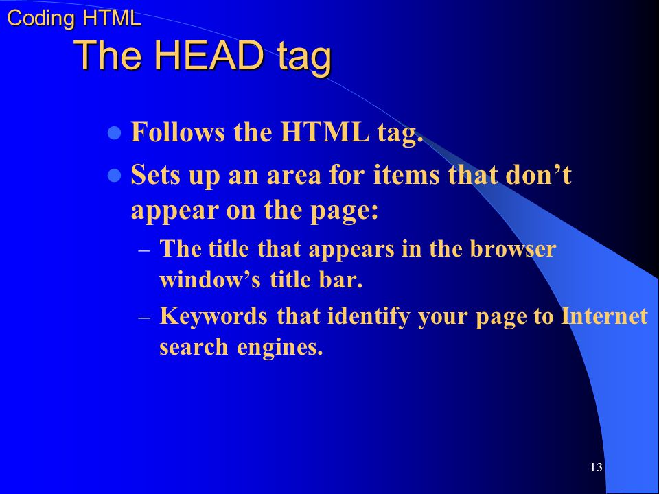 Coding HTML The HEAD tag