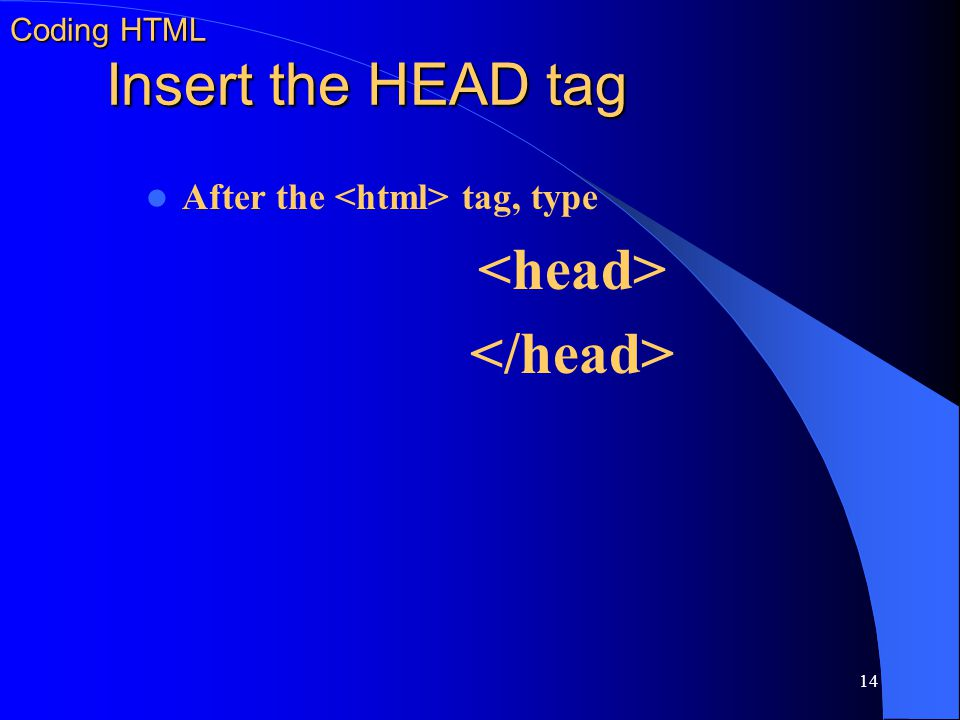 Coding HTML Insert the HEAD tag