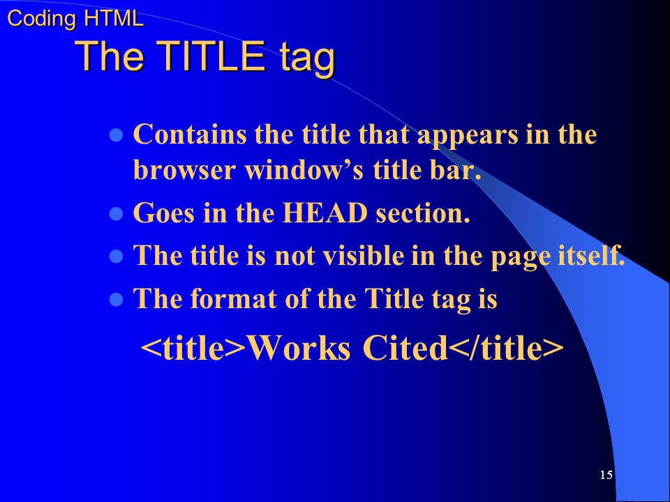Coding HTML The TITLE tag
