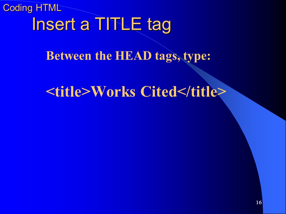 Coding HTML Insert a TITLE tag