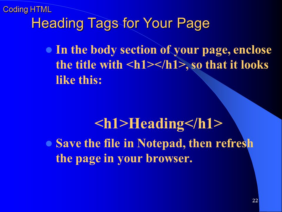 Coding HTML Heading Tags for Your Page