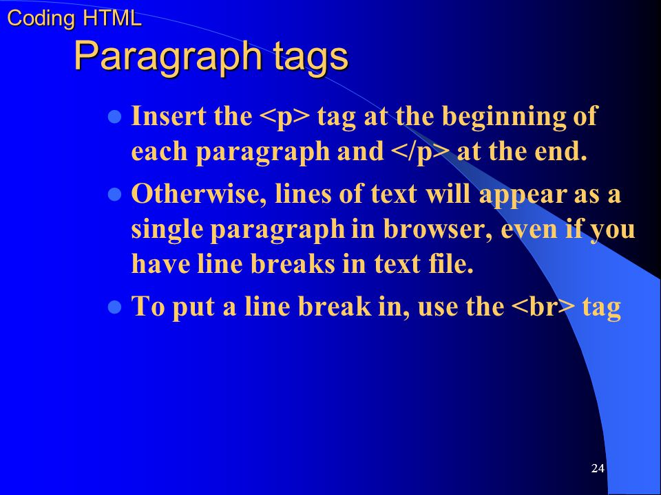Coding HTML Paragraph tags