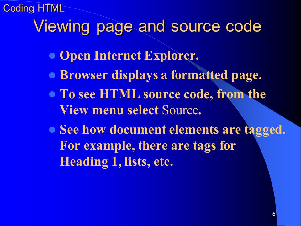 Coding HTML Viewing page and source code