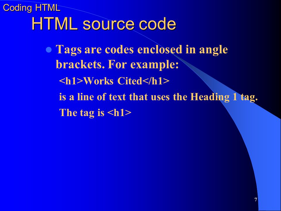 Coding HTML HTML source code