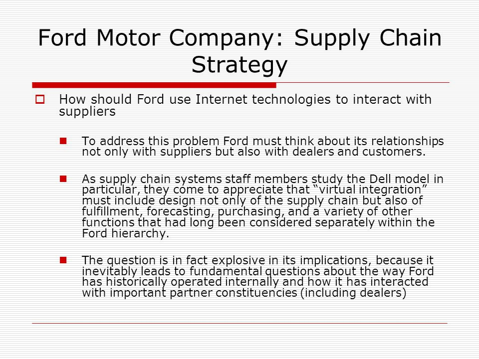 ford supply chain model