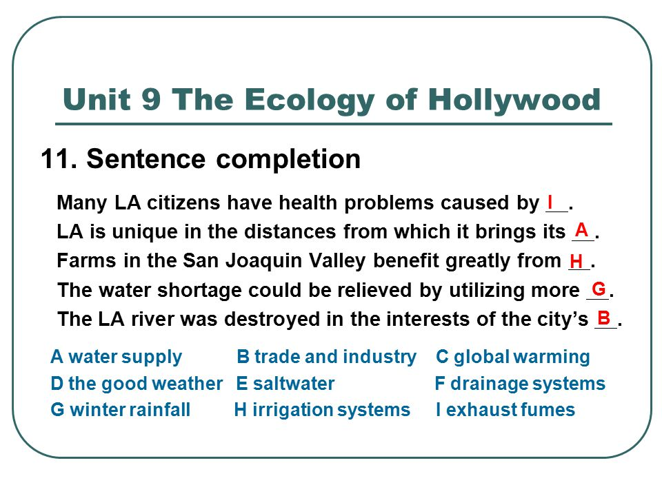 UNIT 9 THE ECOLGOY OF HOLLYWOOD - ppt download