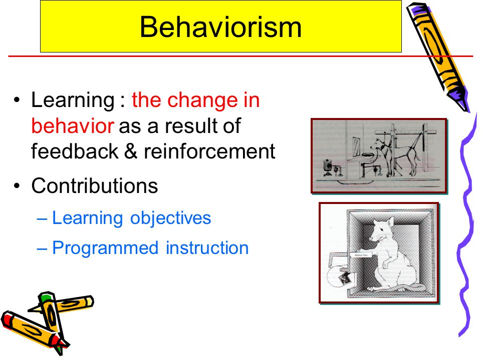 Behaviorism Learning : the change in behavior as a result of feedback & reinforcement. Contributions.