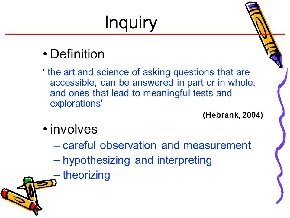 Inquiry Definition involves careful observation and measurement