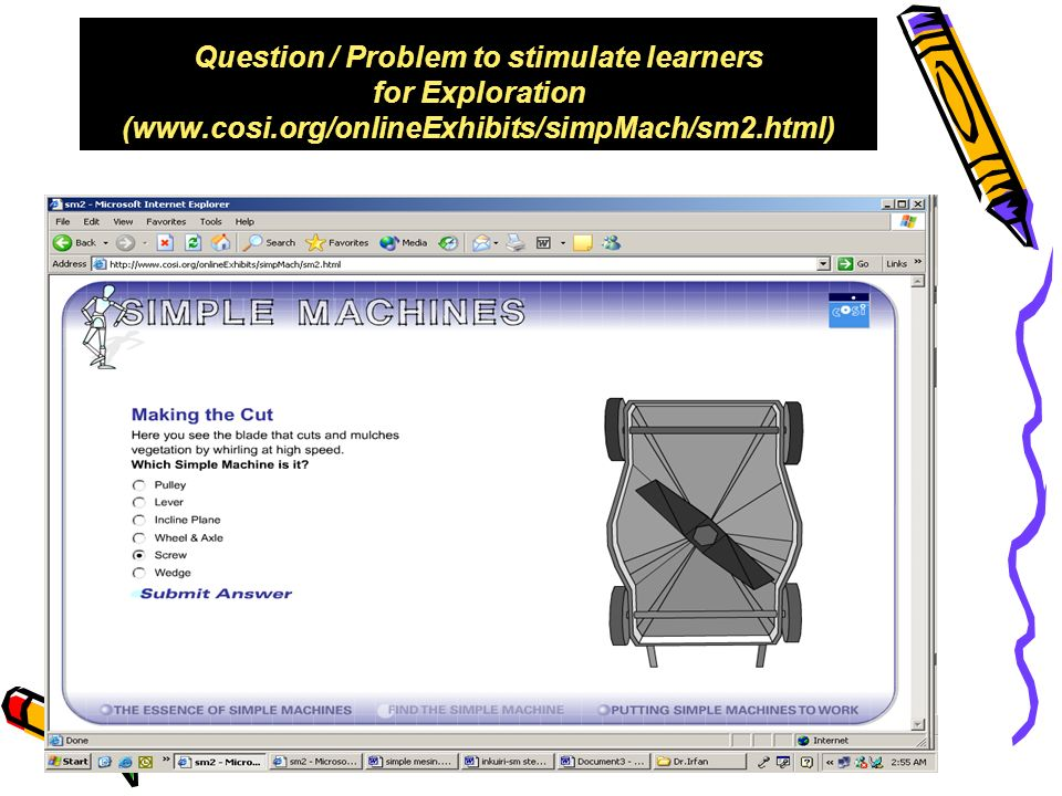 Question / Problem to stimulate learners for Exploration (www. cosi