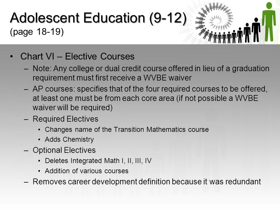 Adolescent Education (9-12) (page 18-19)