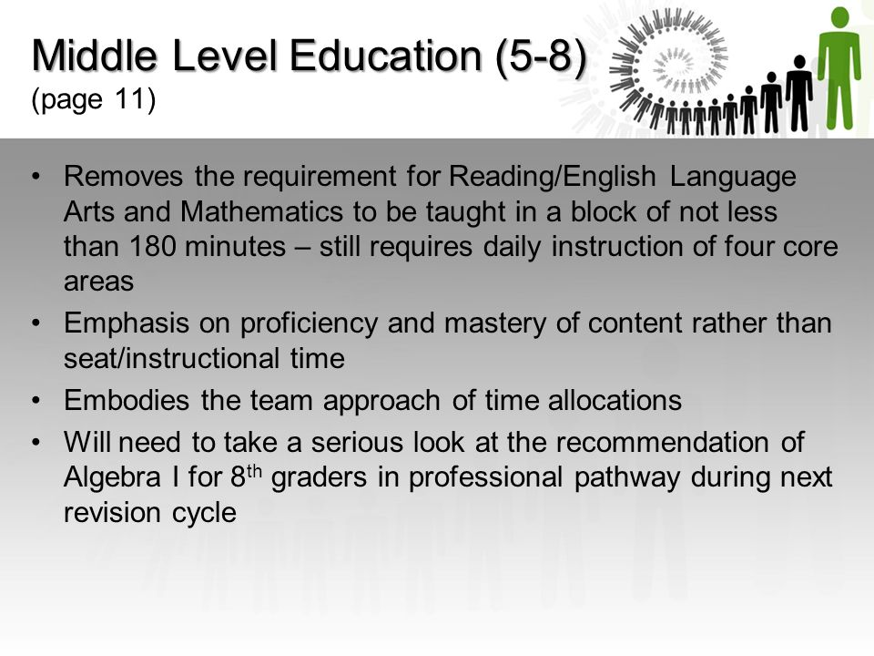 Middle Level Education (5-8) (page 11)