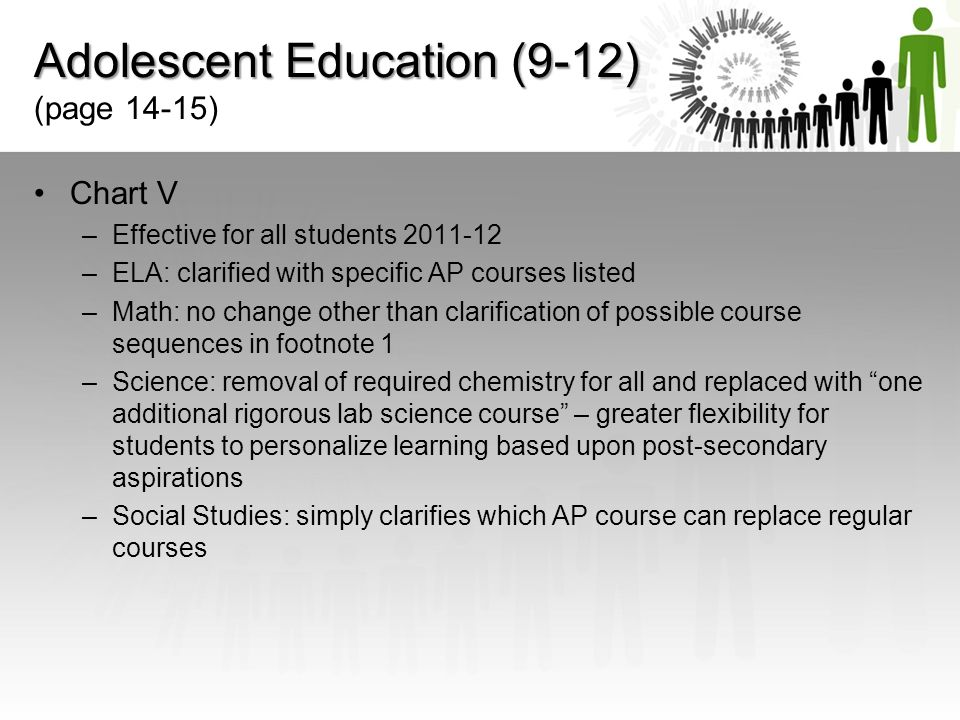Adolescent Education (9-12) (page 14-15)