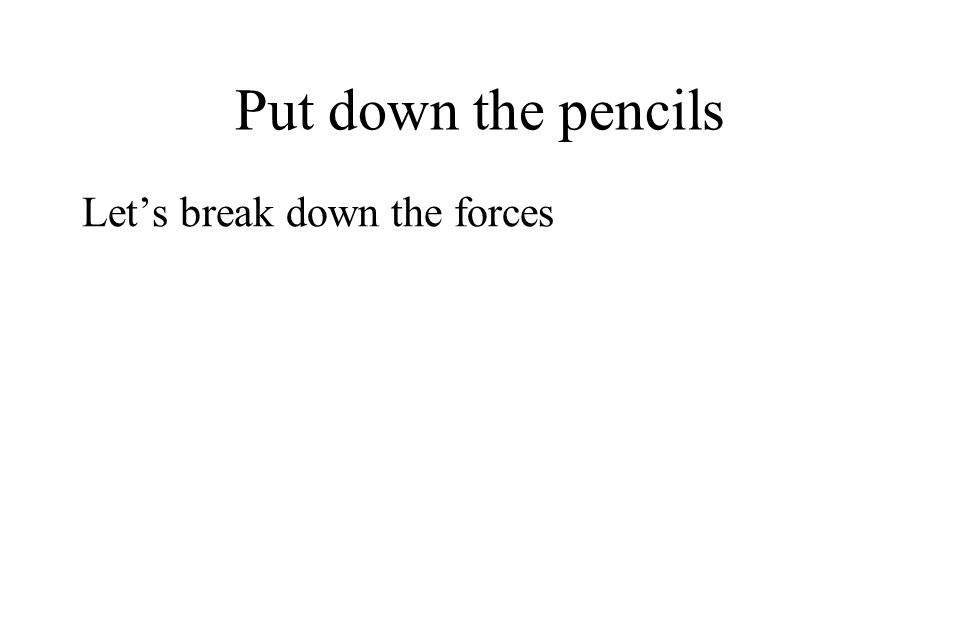 Put down the pencils Let's break down the forces